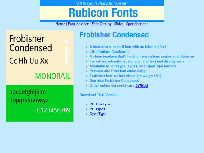 Frobisher Condensed Font Type1 Screenshot