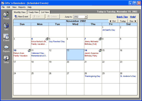 Gifts 'n Reminders Screenshot