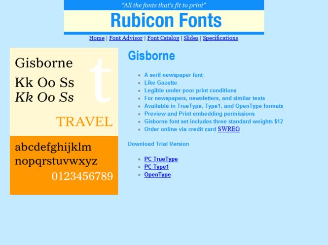 Gisborne Font TT Screenshot