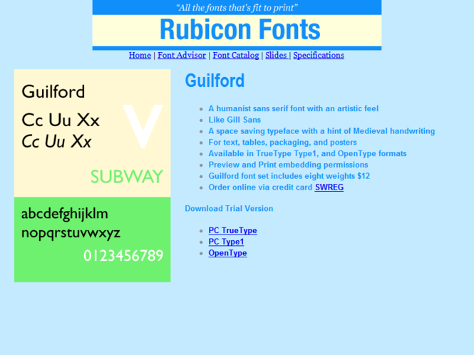Guilford Font TT Screenshot