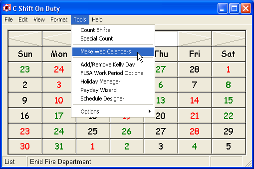 HotShift Calendar Screenshot