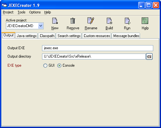 JEXECreator Screenshot