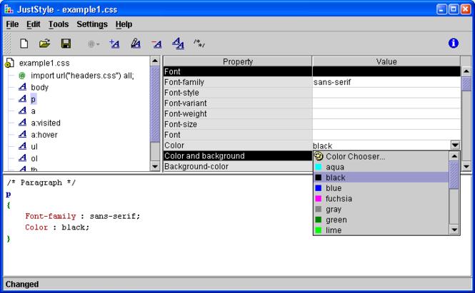 JustStyle CSS Editor Screenshot 1