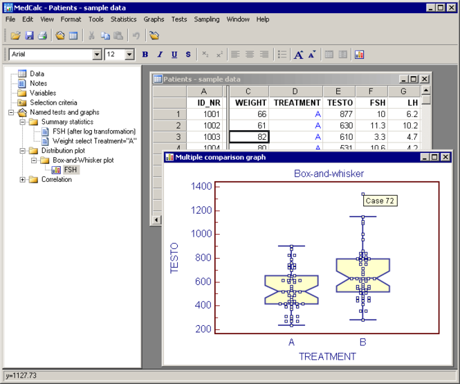 MedCalc Statistical Software Screenshot