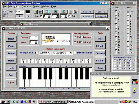 MIDI Auto-Accompaniment Section Screenshot