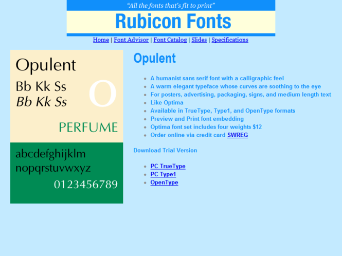 Opulent Font Type1 Screenshot