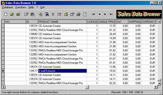 Sales Data Browser Screenshot