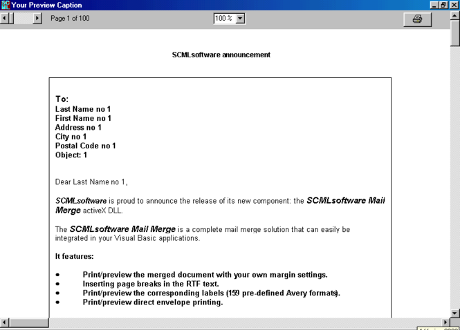 SCML MAIL MERGE PRINTER Screenshot
