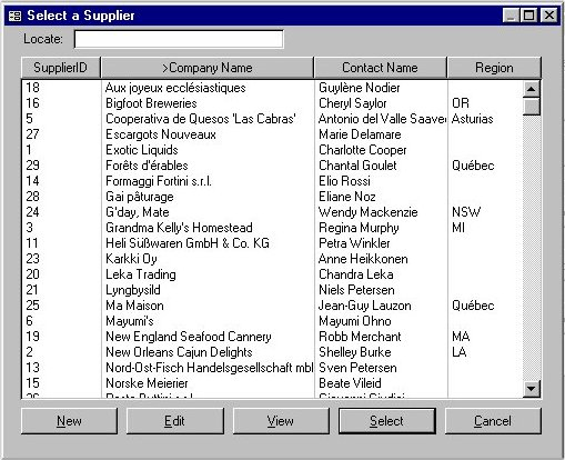 Selector for MS Access 2000 Screenshot