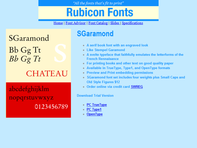 SGaramond Font Type1 Screenshot 1