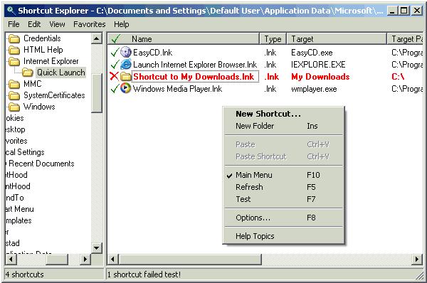 Shortcut Explorer Screenshot