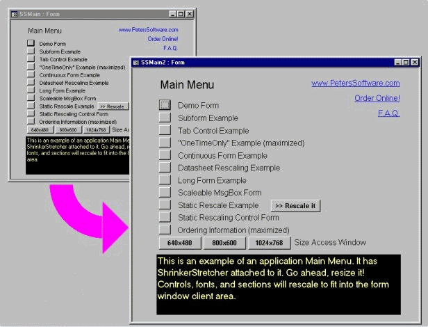 ShrinkerStretcher for MS Access 97 Screenshot