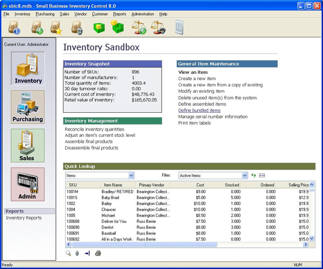 Small Business Inventory Control Pro Screenshot
