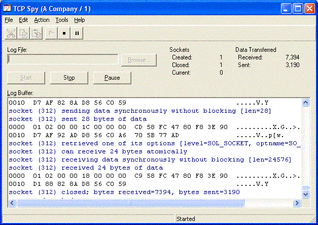 TCP Spy Screenshot