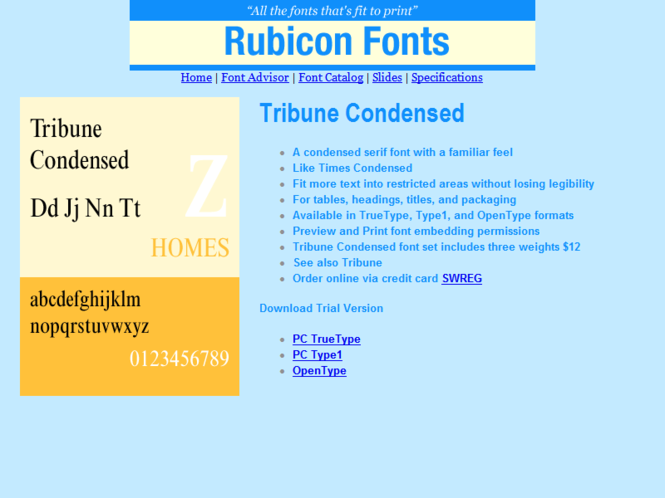 Tribune Condensed Font Type1 Screenshot
