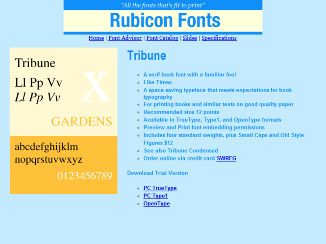 Tribune Font Type1 Screenshot