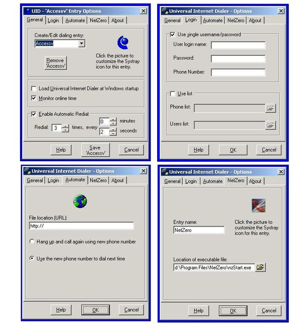 Universal Internet Dialer Screenshot