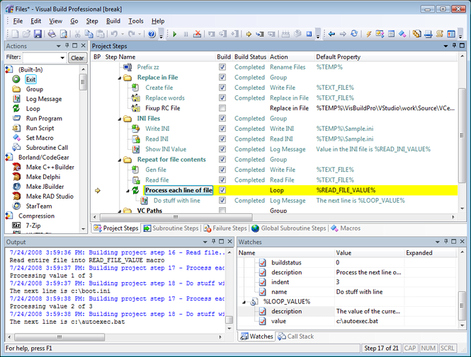 Visual Build Professional Screenshot