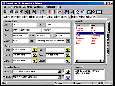 PhoneBook95 Professional Edition Screenshot