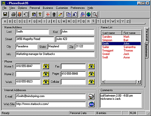 PhoneBook95 Standard Edition Screenshot 1