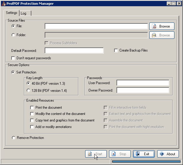 ProfPDF Protection Manager Screenshot