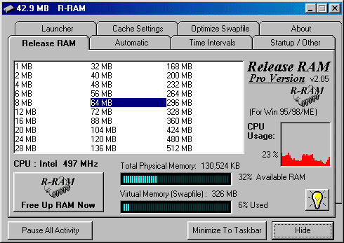 Release RAM 2000/XP Screenshot
