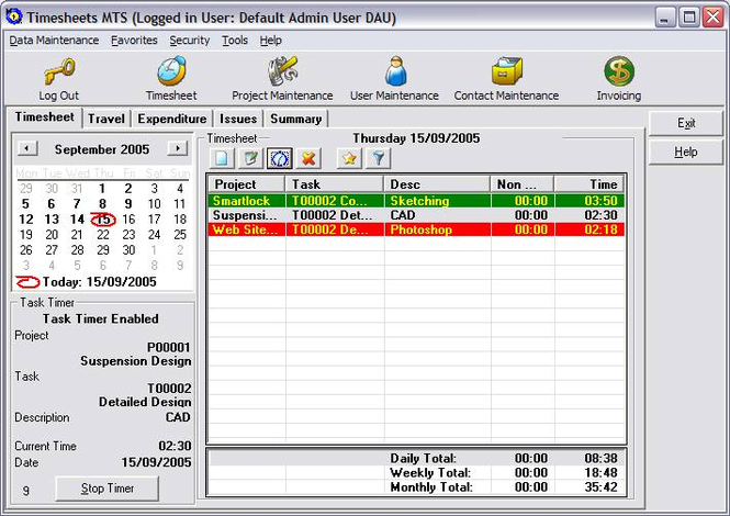 Timesheets MTS Screenshot