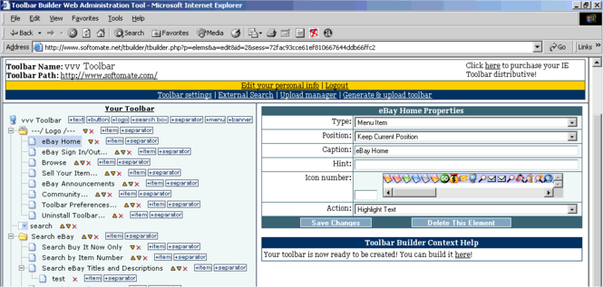 Create IE toolbar online Screenshot 1