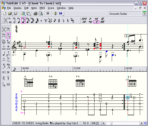 TablEdit Tablature Editor 2.60 (Macintosh) Screenshot