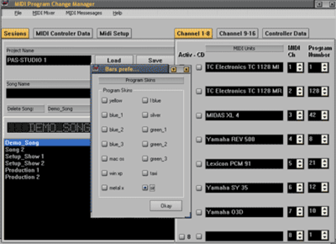 MIDI Program Change Manager Screenshot