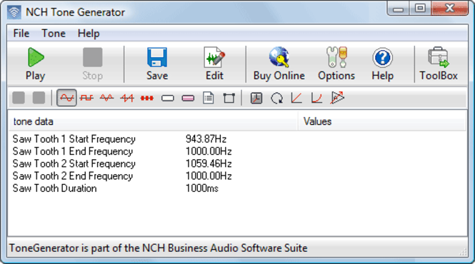 Tone Generator Free Sound Software Screenshot
