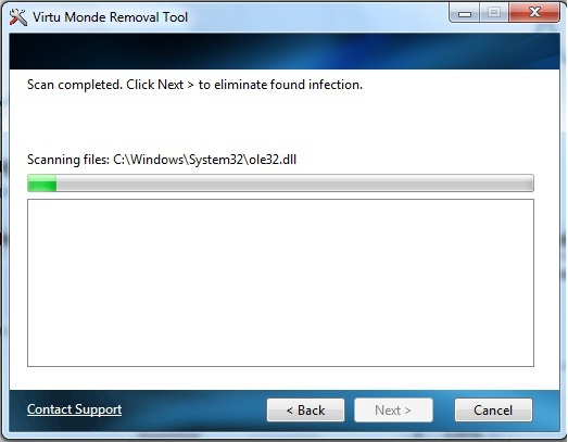 Virtumonde Removal Tool Screenshot