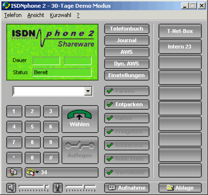 ISDNphone Version 2 Standard Screenshot