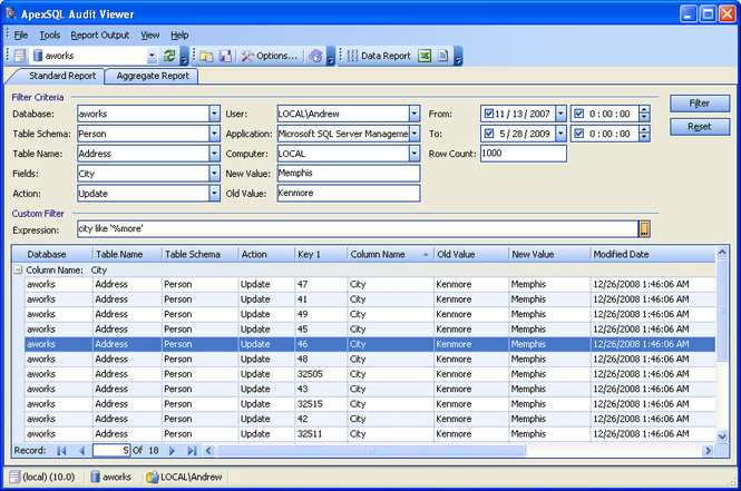 Apex SQL Audit Viewer Screenshot 1