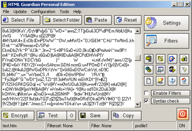 HTML Guardian Professional Edition Screenshot