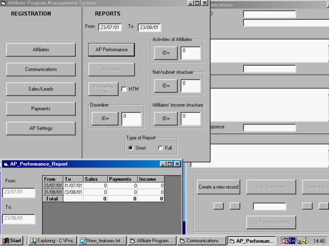 Affiliate Program Management System Screenshot