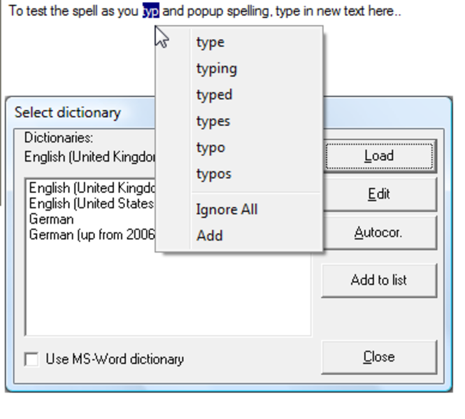 !JRSpellChecker Activex Control Screenshot