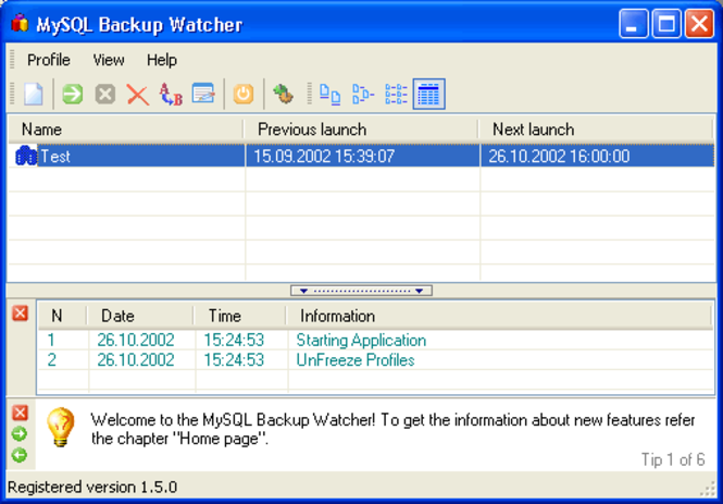 Backup Watcher for MySQL - Professional Edition Screenshot 1