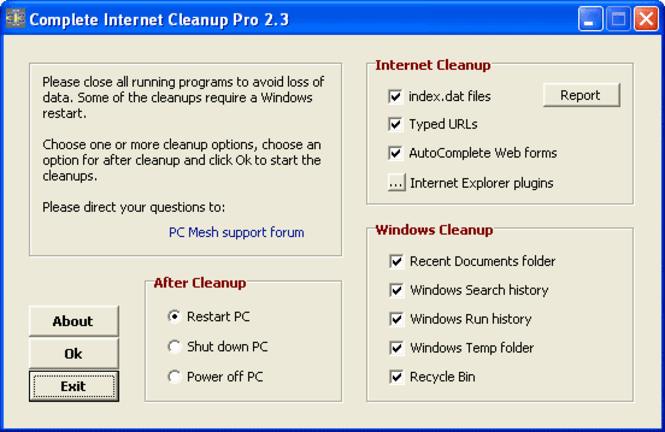 Complete Internet Cleanup Screenshot