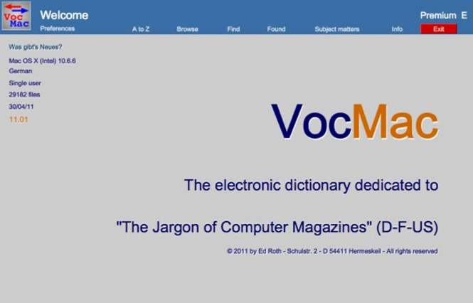 VocMac 2010 for Mac OS - Single User PREMIUM license Screenshot