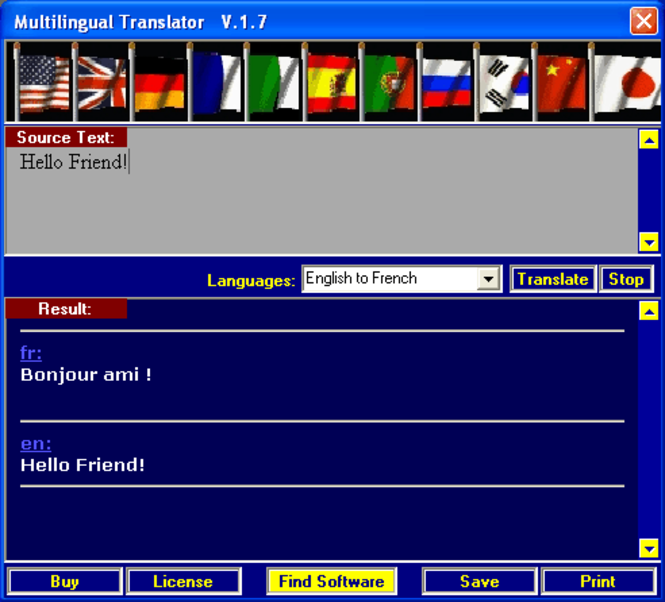 XP - Multilingual Translator Screenshot