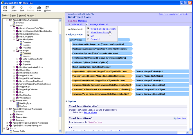 Apex SQL Diff API Screenshot