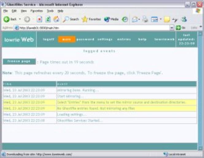 Ghostfiles Service Screenshot
