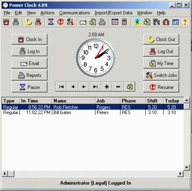 Power Clock Additional Employees Screenshot