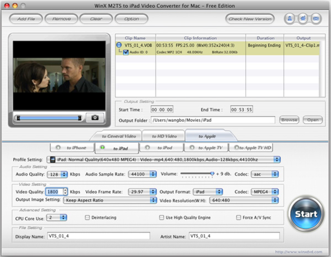 WinX M2TS to iPad Converter for Mac Screenshot 1