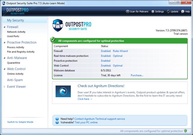 Agnitum Outpost Security Suite Pro Screenshot