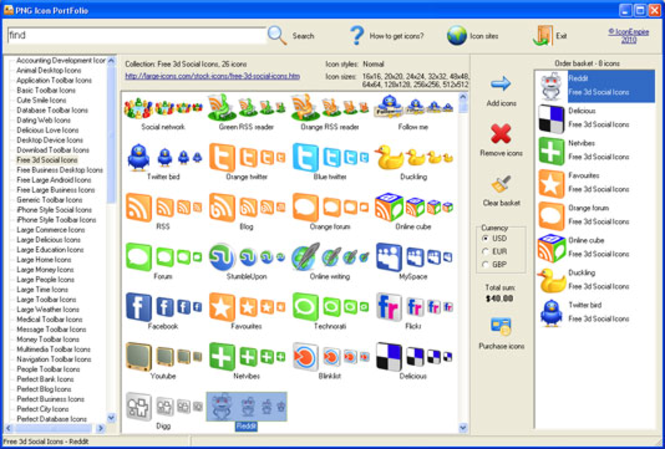 PNG Icon Portfolio Screenshot