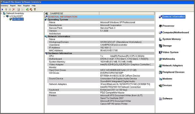 Nsasoft Hardware Software Inventory Screenshot 1