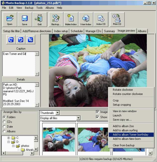 Photo Backup (Win2000/XP) Screenshot