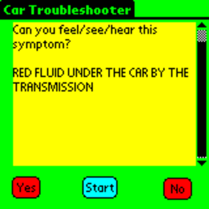 Car Troubleshooter (Palm OS) Screenshot 1